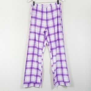 Laura Scott NWOT Plaid PJ Pants Purple Blue White